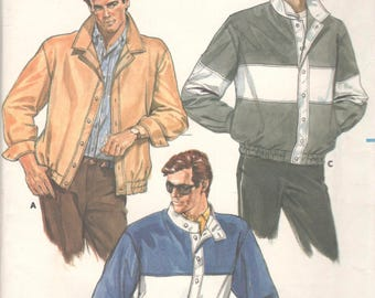 Butterick 3549 1980s Mens Jacket Pattern Button or Snap Front Elasticized Waist Adult Teen Sewing Pattern Size XS S M Chest 30 - 40 UNCUT
