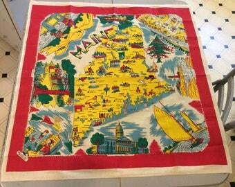 Vintage Souvenir Tablecloth 1940s Maine RARE