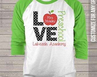 Teacher shirt - love school personalized raglan shirt for teachers MSCL-025-R