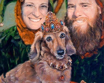 DemandingDachshunds, custom oil portrait painting, dog with people, 16x20""