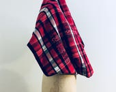 Red Flannel Infinity Scarf, Plaid , Soft , Edgy, Printed Text, Punk, Winter Scarves, Unique Holiday Gifts