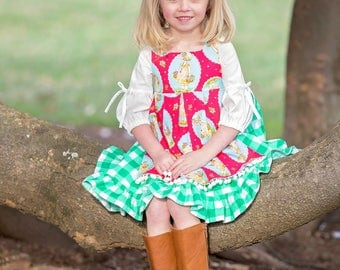 Spring Dress for Girls - Pinafore Apron Dress - Buffalo Plaid - Girls Boutique Dress - PhotoShoot Dress - Birthday  - sizes  4T - 10 yrs