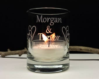 50 Engraved Glass Interlocking Hearts Personalized Wedding Favors Candle Holders