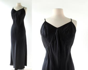 1940s Satin Slip | Barbizon Slip | Black Full Slip | Medium M