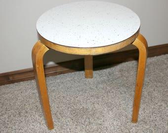 Vintage Alvar Aalto 60 Artek Bentwood Stool, 60s Bent L Linoleum Seat, Mid Century Mod Furniture
