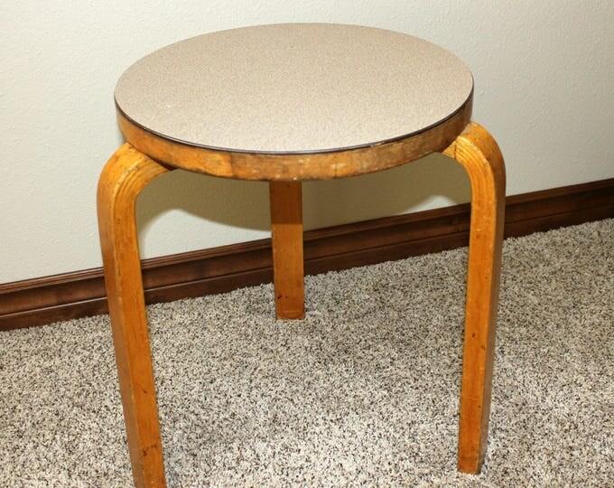 Vintage Alvar Aalto 60 Artek Bentwood Stool, 1960 Bent L Linoleum Seat, Mid Century Mod Furniture