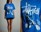 Blue Stussy T Shirt / 90s Blue Stussy T Shirt / Vintage Stussy / 90s Stussy Tee / Vintage 90s T Shirt / Graphic T Shirt / Medium Large