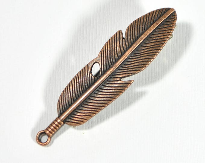Feather Hair Clip Copper Feather Hair Accessories Feather Jewelry Boho Hair Clip Alligator Clip