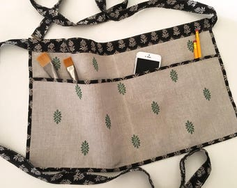 Linen Half Apron - Utility Apron - Craft Apron - Gardening Apron - Seamstress - Teacher - Gift for Women