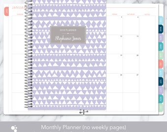 MONTHLY PLANNER notebook | 2018 2019 no weekly view | choose your start month | 12 month calendar monthly tabs | lavender tribal