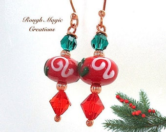 Red & Green Earrings, Christmas Jewelry, Lampwork Dangles, Bright Holiday Colors, Emerald Swarovski Crystals, Copper Beads and EarWires E455