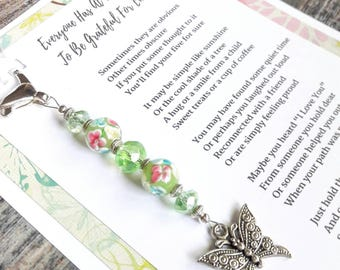 Gratitude Beads With Original Poem - Green Floral Lampwork & Fire Polished Faceted Glass Beads - Butterfly Charm