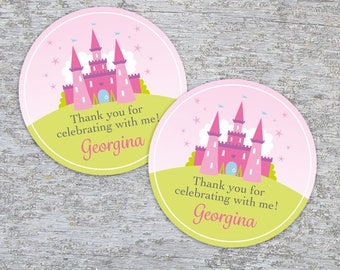 Personalized Princess Party Favor Tags or Stickers – 2, 2.5 or 3 Inch Circle – DIY Printable – Fairytale Castle (Digital File)