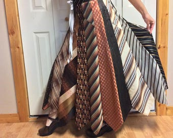 Brown Striped Long Silk Skirt/Upcycled Clothes/Recycled Mens Neckties/Repurposed Clothing/Autumn Colors/Womens Size Small to Medium Tall
