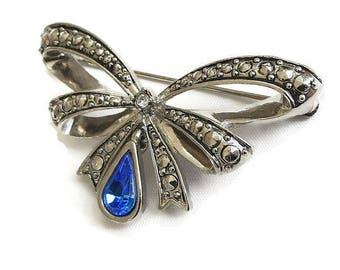 Faux Marcasites Bow Brooch with Dangle Blue Rhinestone Vintage by AVON