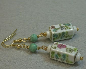 Vintage Chinese Turquoise Bead Dangle Earrings ,Vintage Chinese White  Rectangular Porcelain Bead White Pink Blue Flowers,Gold Ear Wires