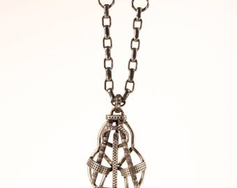 Victorian English historic forged metal pendant necklace, Medieval Scottish Outlander jewelry