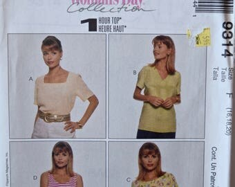 1990s McCall's 9314 Sewing Pattern Misses' Pullover Shirt Sleeve and Neckline Options Woman's Day Collection UNCUT Factory Folds Sizes 16-20