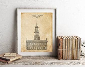 Independence Hall blueprint, independence hall elevation, americana decor, patriotic art, architectural blueprint art, blueprint wall decor