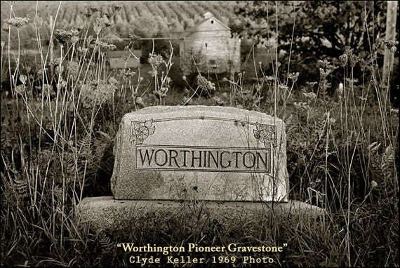 WORTHINGTON PIONEER GRAVESTONE, old cemetery, Clyde Keller photo