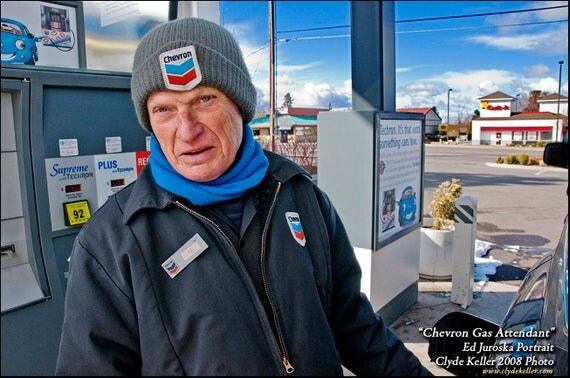 CHEVRON GAS ATTENDENT, Ed Juroska, Bend, Clyde Keller photo, 2008