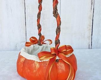 Orange Pumpkin Basket for your Fall Wedding