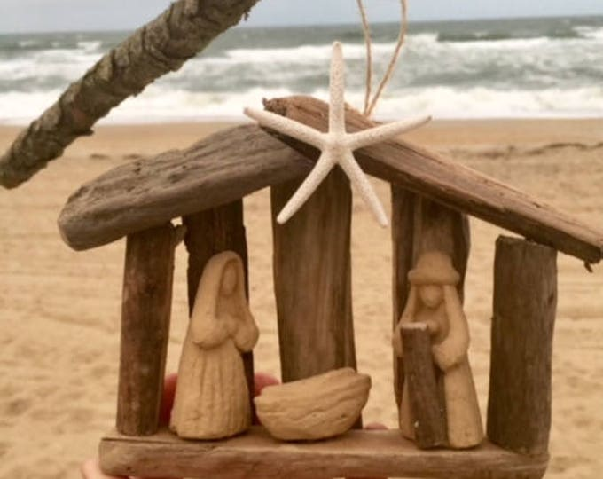 8 ornaments order by Dec 14 driftwood manger Christian wood nativity Christmas tree Baby Jesus creche Beach House Dreams OBX Across miles