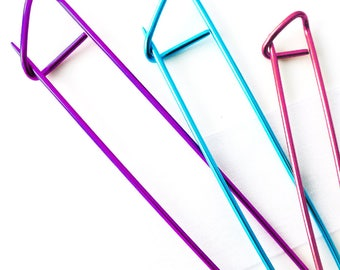 NEW - Colorful Stitch Holders Cable Needles Pins for Knitters and Crocheters - Three Sizes Available