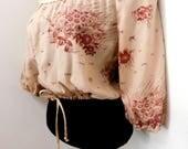Vintage 70s Midriff Crop Top Blush Pink Peasant Blouse Mushroom Botanical Print Bohemian Hippie Boho Summer Festival Poet Shirt XS S Small