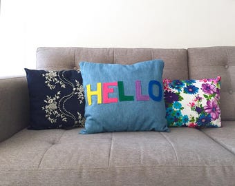 Hello Denim Pillow, Decorative Throw Pillow, Light Blue Denim Pillow