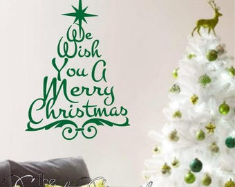 We Wish You A Merry Christmas   Christmas Wall Decals And Custom Wall  Quotes For Holiday
