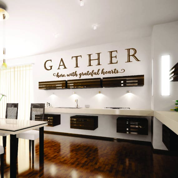 gather here with grateful hearts vinyl wall decal sticker. Black Bedroom Furniture Sets. Home Design Ideas