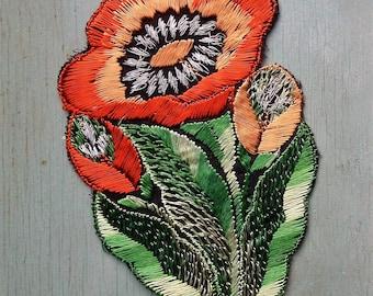 Vintage Applique 1920s 1930s Sew On Fabric Applique Orange Peach Flower Embroidered Silk Floral 20s 30s Dress Trim Decoration Art Deco Era