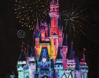 """Disney's """"Wishes"""" fireworks print, original oil painting by Roseann Madia"""