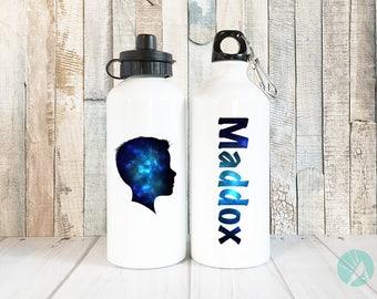 Personalized Kids Water Bottle, Galaxy Print, Custom Silhouette Portrait, Personalized Kids, Kids Water Bottle, Personalized Water Bottle