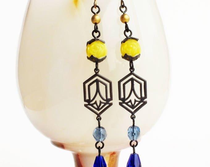 Blue Yellow Art Deco Earrings Long Beaded Dangles Earrings Vintage Beads Art Deco Jewelry Yellow Royal Blue