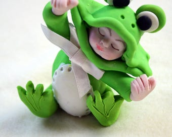 Baby Girl Boy Cake Topper Dressed Like Frog Gift, Baby Shower Gift, Collectible