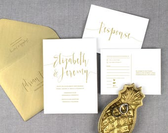 elegant gold wedding invitations, modern gold wedding invitation, script lettering , gold and white wedding invitation, printed invitations