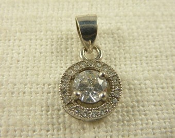 Vintage Sterling and Cubic Zirconia Little Pendant