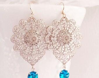 Silver Filigree Earrings - Long - Blue Earrings - Dangle - BAROQUE Blue