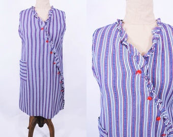 1960s stripe dress | red white blue patriotic house dress | vintage 60s dress | W 44""