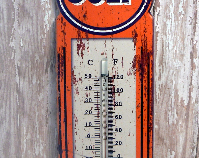 Gulf Oil Gasoline Wall Thermometer Man Cave Garage Shop Porch Kitchen Repro