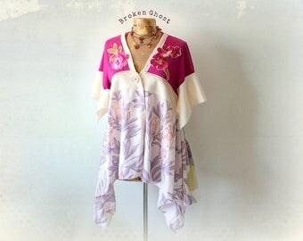 Bohemian Tunic Cardigan Top Purple Gypsy Shirt Wearable Art Clothing Upcycled Top Layered Clothes Mori Girl Stevie Nicks Shirt M 'MARLENA