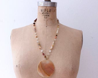 vintage agate necklace / 70s stone necklace / Bisti Hills necklace