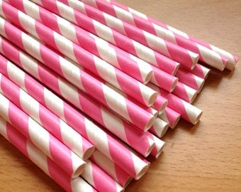 SALE - Set of 25 - PINK Stripes Paper Straws - Vintage Paper, Mason Jar, Wedding, Baby Shower, Tea Party, Bridal, Engagement Party