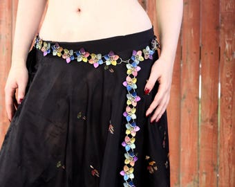 Rainbow Watercolor Titanium Scalemaille Flower Belt