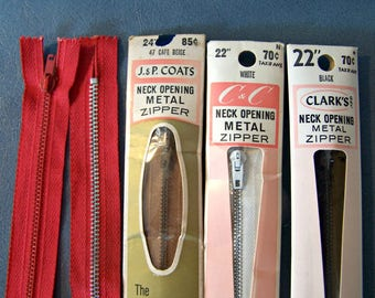 Vintage Zippers, Metal Zippers, 50s metal zippers, metal zipper lot, sewing zippers, sewing supplies, notions
