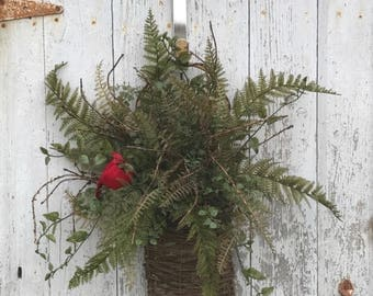 Christmas Fern Wreath, Country Christmas Decor, Holiday Wreaths, Christmas Baskets, Wall Pockets, Holiday Decorations, Fern Plants