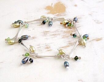 Green Pearl Bracelet, Sterling Silver Link Bracelet with Pearl and Crystal Dangles, Handmade Silver Jewellery, Delicate Bracelet