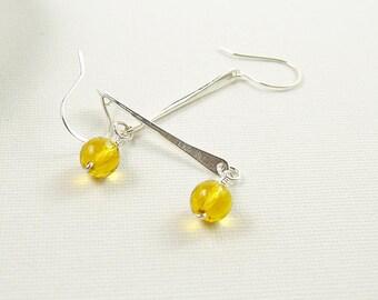 Sterling Silver Citrine Earrings, Hammered Silver Long Drop Earrings